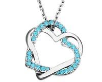Light Blue Zirconia Double Heart Love Necklace Costume Gift Box Fashion Jewelry  Girlfriend Mother Wedding Bridal Girl Jewellery