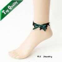 FL-22 Silk bowknot Free Shipping aliexpress friendship for sale Anklets Vintage Gothic vampire Lolita fashion Lace Anklets stock