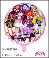 free shipping 18inch monster high school foil balloon,18inch round foil balloon, mylar balloon  size 45x45cm