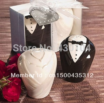 Free shipping High Quality Cheap Wholesale 20pcs=10Pairs Wedding Favors Bride&Bridegroom Salt & Pepper Shaker,Best Wedding Gift