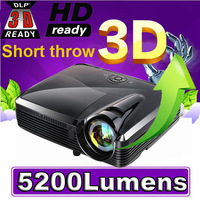 2013 Full HD 1080P 4500Lumens 3D projector,best portable multimedia short throw shutter 3D dlp projector proyector