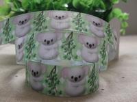 2013 new arrival 7/8''  22mm green koala printed grosgrain ribbon lovely animal ribbons 10 yards