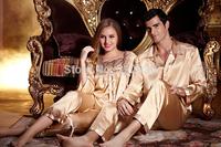 Free shipping  2014 long-sleeve lovers silk sleepwear and quality silk pijama women man pajamas