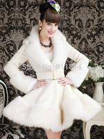 Winter white black deep V-neck fur collar ladies elegant woolen tight overcoat