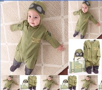 2013 new style baby rompers kids one-piece hoodies pilot design Jumpsuits children clothing sets cotton autumn wear free ship