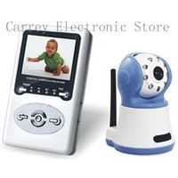 "wireless baby monitor Night vision with 2.4""LCD display 386D1, Free shipping"