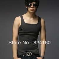 (free shipping)2013 male vest male 100% cotton men's basic men sweatshirt fitness quality good price