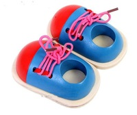 Candice guo! Children educational wooden toys tie my shoe baby lacing shoes early development small 1 pair