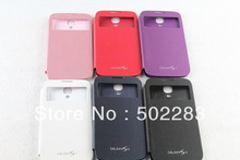 S View Flip Cover for Samsung Galaxy S4 S VIEW COVER with retail packing , 5 Colors, Free Shipping(China (Mainland))