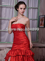 Hot Gorgeous Ruffle Sleeveless Split Fish tail type Lace-up Court Train Wedding Dresses Size 2 4 6 8 10 12 14 16 18 20