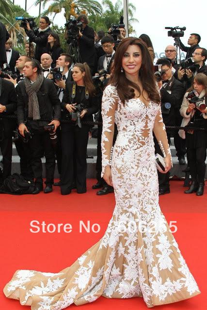 Dresses new fashion 2013 Sexy Najwa-karam Mermaid ivory white