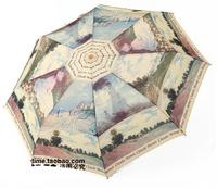 Free shipping Monet Renoir series of oil paintings automatic umbrella Beautiful pattern umbrella