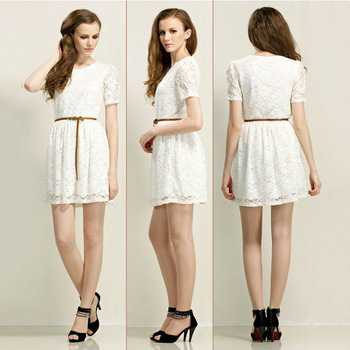 2013 European Style Summer Sweet Princess Top Quality Lace Embroidery Short Slim Ladies Dress free shipping LJ394