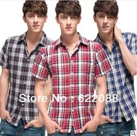 2013 new style summer fashion joker stylish casual cotton and linen plaid short-sleeved shirts for men Free Shipping 16 colors