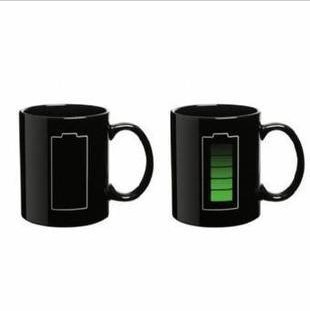 DHL Free shipping Battery Level Mug,Electricity thermal mug/coffee, light bulbs, blocks of color changing mugs(China (Mainland))