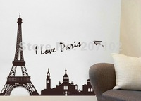 Free Shipping: Black I Love Pairs Eiffel Tower Removable 3D Wall Mural Wall Sticker Art House Room Decoration size 60*160cm