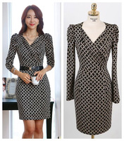 hiqh quality china brand long sleeve plus size plaid OL casual dress women dresses new fashion 2013 autumn drop shipping