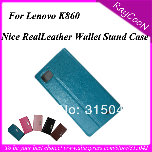 Free ship New arrival Good Quality Real leather phone wallet stand cover/case for Lenovo Ideaphone K860, Perfect fit, 6 color(China (Mainland))