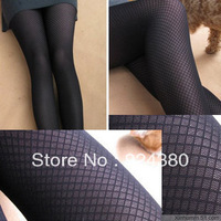hot sale black 20d tiny square jacquard tights slim body shaper elegant plaid pantyhose autumn spring accessory