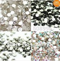 Big promotion! Free shipping 1440PCS ss8 2.3-2.4mm Glitter  silverback crystal Rhinestones Gems Nail Art  Decorations  6 COLOR