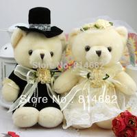 10CM Plush Teddy Bear Toy Sitting Bears Lovers In Wedding Dress, 1 pair/lot Stuffed Bear Toy For Wedding gift