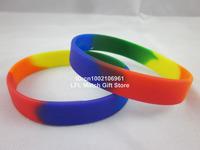 Rainbow colour Gay Pride wristband, silicon bracelet, promotion gift, 100pcs/lot, free shipping