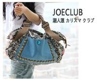 2014 fashion women retro canvas bag female big bag handbags women rivet package diagonal package women shoulder bag c028