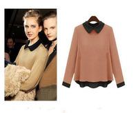 Mushroom SEMIR fashion vintage peter pan collar long-sleeve chiffon shirt female DM131480