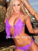Hot Sale Swimwear Women Padded Boho Fringe Bandeau Bikini Set New Swimsuit Lady Bathing suit Q7