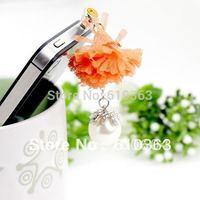 Min.order is $10 1 pcs Retail Universal 3.5mm cute Orange anti dust dustproof Earphone Jack Plug for iPhone