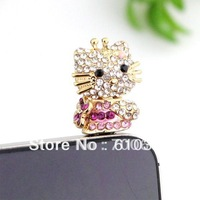 Min.order is $10 (mix order) Free Shipping Universal 3.5mm Crystal Crown cute anti dust dustproof Earphone Jack Plug for iPhone
