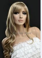 Fashion Beauty Blonde Glueless Wigs Ladies KANEKALON Water Curl Wigs Free Shipping 23.6 Inch Kinky Queen Wigs