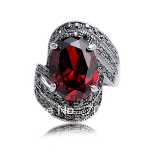 Free shopping Vintage big crystal punk fashion ring vintage ring zircon(China (Mainland))