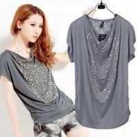 women's big plus size rhinestones tees women summer fashion diamond decor ladie's cotton short-sleeve T-shirts