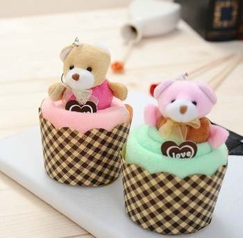Free shipping Wholesale  microfiber high absorbent Teddy Bear cake towel gift  30*30cm  4piece/lot ( Remarks color)