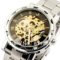 HOT!2013 Fashion Style 1pc Free Shipping Self Wind Mechanical Mens Watch,FLENT Watches 3Hands,100% Good Quality,F001
