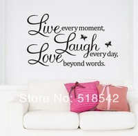 Free Shipping:Retail Live Laugh Love Butterflies Wall Decals/PVC Removable Art Home Wall Sticker/Room Wall Decor 50*70CM