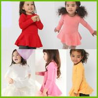 2015 new girls dress 100% cotton long sleeve children dress kids Baby dress retail free shipping