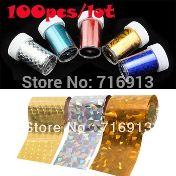 100pcs/lot 2013 New Fashion 5rolls/set Art Nail Transfer Foil Sticker Set Tip Decoration 5 Styles/Set 7 Sets Free Shipping 13147