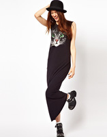 2013 Summer New style Cat Face printing Vest dress Woman maxiskit Lady's Ankle-Length dress Wholesale black S M L Y0127