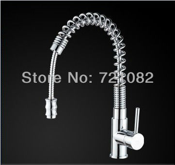 New Free Ship high quality Pull Out Faucet Chrome Water Power Swivel kitchen Sink Mixer Tap Double Handle B151100(China (Mainland))