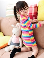 Retail 2013 New Stock The girls colorful striped Promotions 3~11Age  Stripe Dresses  Children's clothes