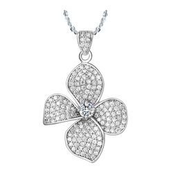 P80055 Flower pendants white gold plated jewelry Made with Austrian Crystals Clovers locket clearance sale free shipping(China (Mainland))