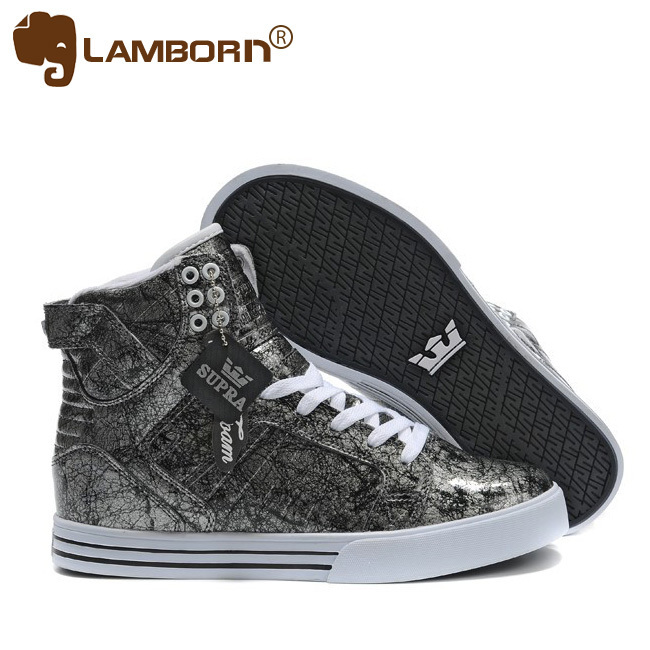 Online Sale Cheap Brand Shoes 2013 for Mens Skateboard Shoes High Top Leather Gray hip-hop sports shoes Spikes Free Shipping(China (Mainland))