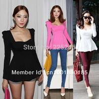 Drop Shipping Fashion Womens Solid Long Sleeve Crew Neck Peplum Bottoming Shirt Blouse Tops Free Shipping CY0450