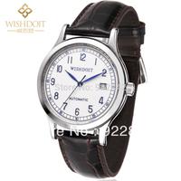 Wishdoit Outside Sport Strap Men Automatic Watch Waterproof 100m Mechanical Cowhide Leather Strap Watchband