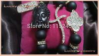 Free Shipping Black Buddha Head, Sideways Crystal Pave Cross, Rhinestone Open Clover Flower Bracelet Jewelry