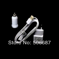 Free Shipping 3 in 1 white color 2A EU USB Wall Charger Power Plug + Micro USB Cable For Samsung Galaxy S5/S3 /s4/note 2