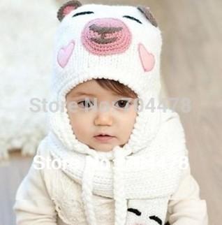 Free Shipping 100% Handmade Children Crochet Hats Various Animal Styles Baby bear Beanie hat 3 colors Kids Caps  H25