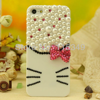 Free shipping Rhinestone Crystal Diamond pearl phone Case Covers for iphone 5, white beads kitty cat face  DIY handmade